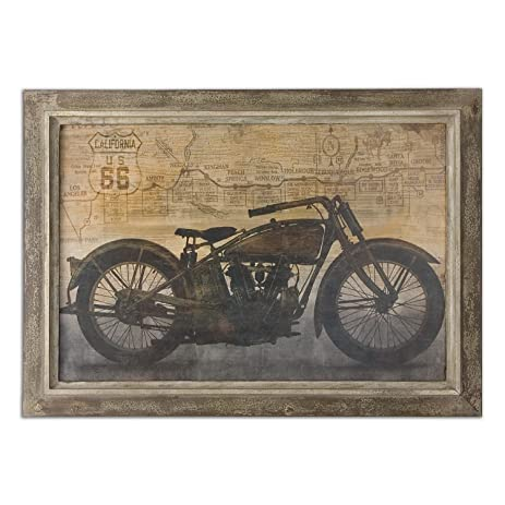 42u0026quot; Hand Finished Route 66 Motorcycle Oil Reproduction Print Framed Wall  Art
