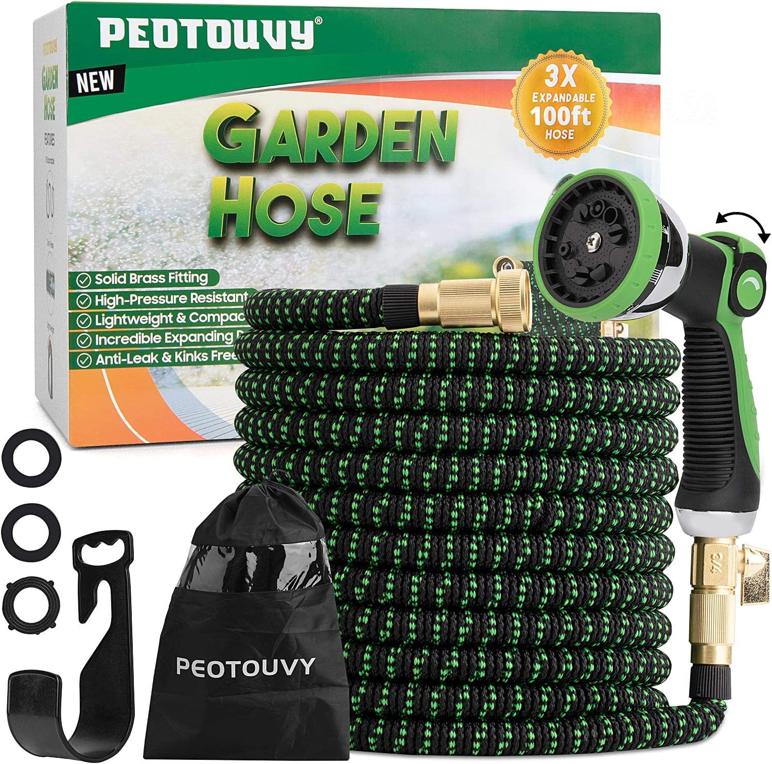 Peotouvy 100ft Expandable Garden Hose,Lightweight Leakproof Water Hose With 10 Function Nozzle, No-Kink with 3/4 inch Brass Fittings 3750D Durable Outdoor Yard Hose for Garden,Car Wash,Pet Bathing