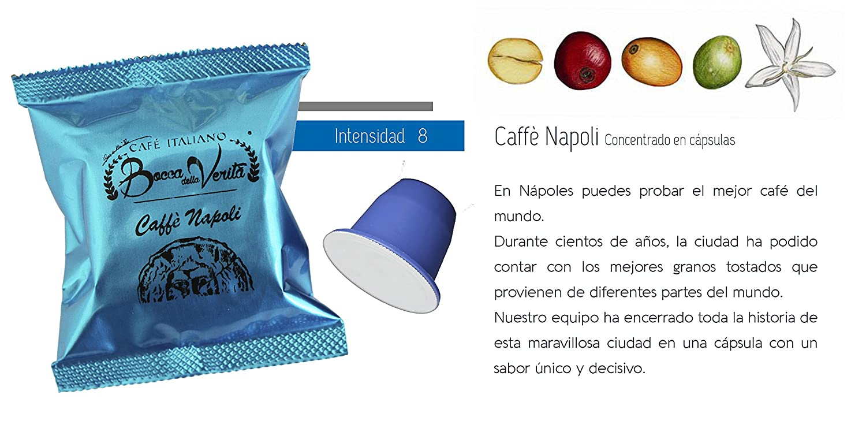 Café cápsula Espresso NAPOLI Nespresso compatible | 100 Cápsulas Bocca Della Verità | Café Italiano de Calidad Superior: Amazon.es: Alimentación y bebidas