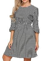 Bluetime Women's 3/4 Ruffle Sleeve Striped Fit Flare A Line Casual Midi Dress Summer Fall