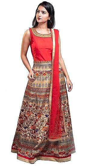 c89e24a6ed0 aaaina Women s Silk 2 Piece Printed Gown (A0020