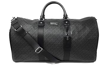 02e874ef0bdcb3 Image Unavailable. Image not available for. Color: Michael Kors Leather PVC Travel  Logo Duffle Large Bag Printed Duffel Luggage Black