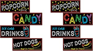 """Beistle , 8 Piece Neon Food Sign Cutouts, 19.5"""""""