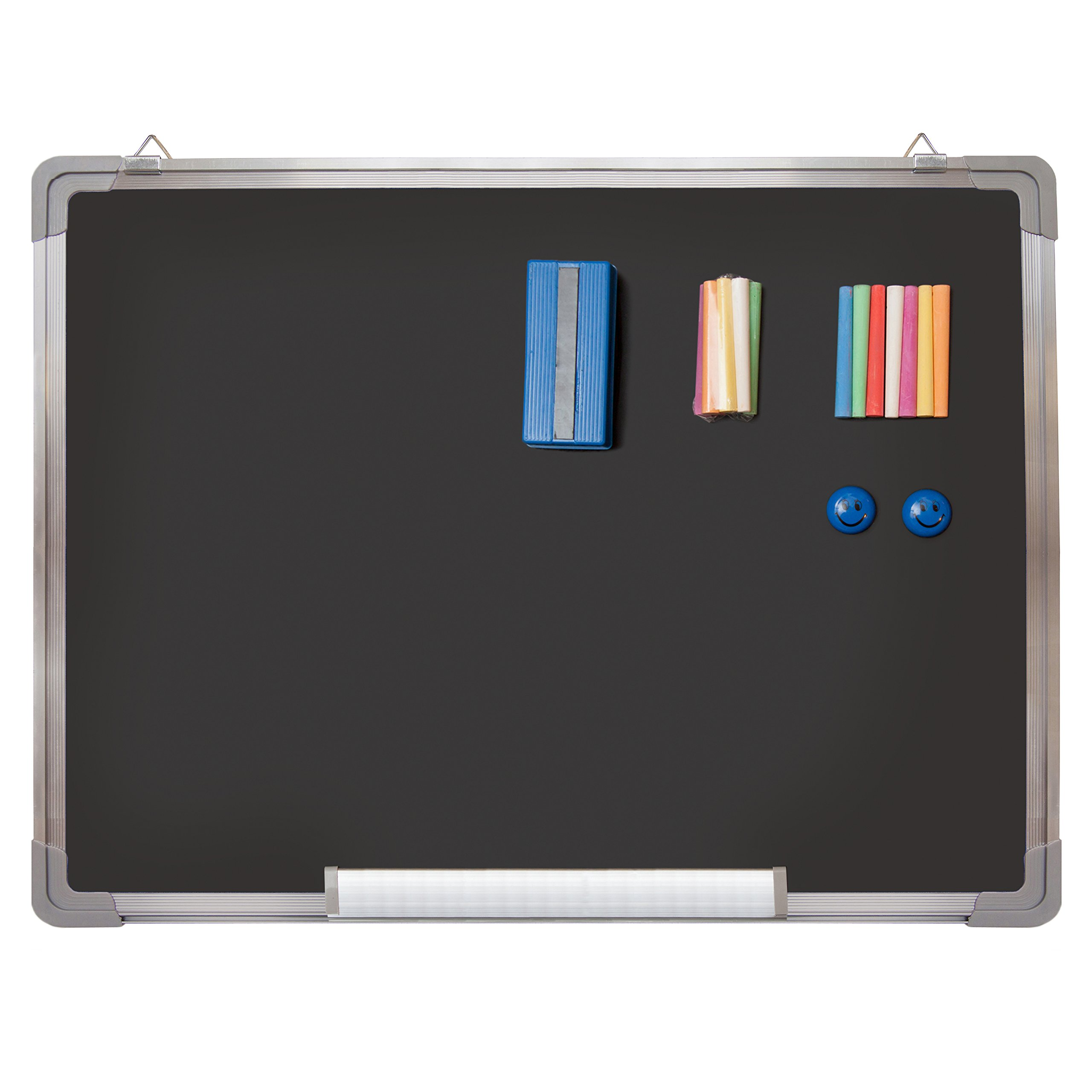 Chalkboard Set - Black Board 24 x 18'' + 1 Magnetic Chalk Eraser, 14 Chalk Sticks (7 Colors) and 2 Magnets - Small Message Blackboard with Sturdy Frame for Home Office Class School (24x18'' Landscape)