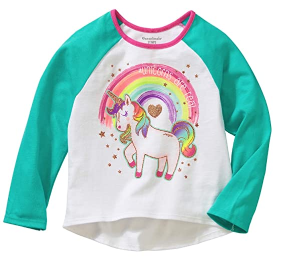 2a3c7a9b Amazon.com: Garanimals Baby Toddler Girls' Long-Sleeve Hi-Lo Graphic ...