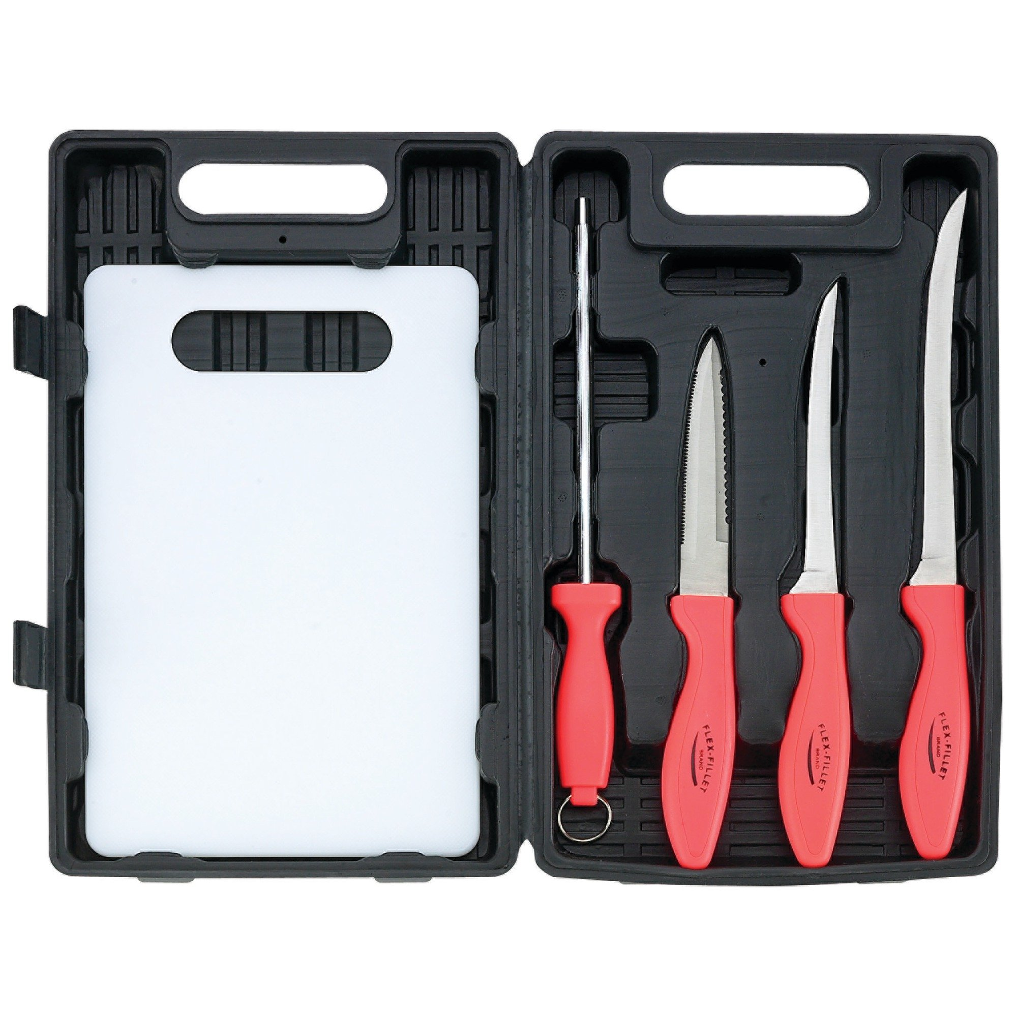 Flex Fillet 5pc Fishing Cutlery Set Fishing Knife Sharpening Steel Cutting Board Leymar Handles