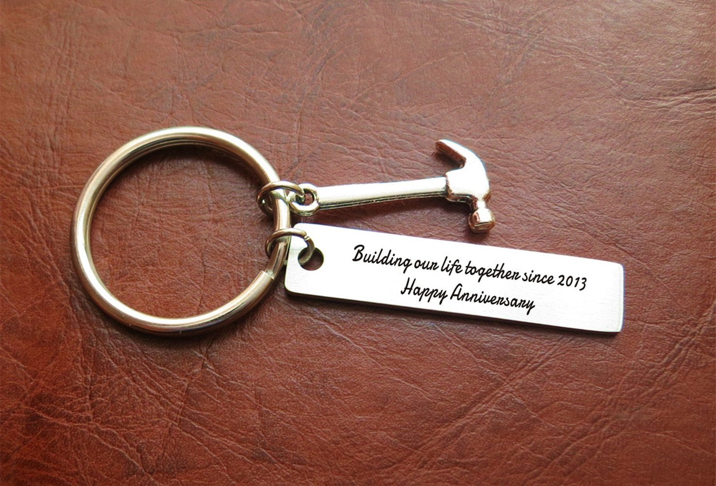 Building Our Life Together Anniversary Gifts - 5 Year Anniversary Key Chain Gift for Him or Her - Happy 5th Wedding Anniversary