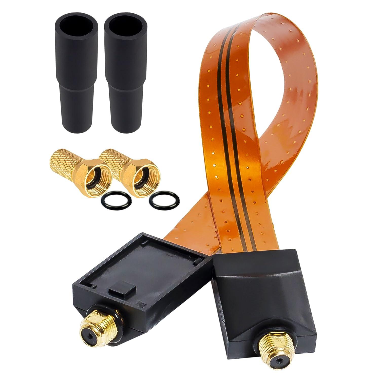 Kontakte verGOLDet antennenkabel satellitenkabel koax 2X Klebepads f/ür Fenster /& T/üren Flach HB-DIGITAL 2X SAT Kabel Fensterdurchf/ührung doppelseitiges Klebeband 4X Gummit/üllen 4X F-Stecker
