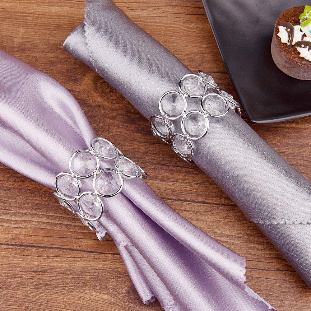 Silber romantische Kerzenlicht Bankett Feier Dekoration Feyarl 4//6//8 Gl/änzend Kristall Perlen Serviettenschnalle Hochzeit Fokus 6 besondere Anl/ässe