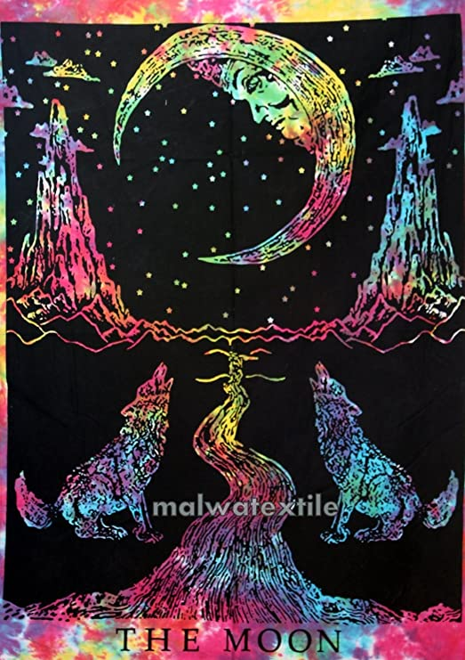 Triple Moon Tapestry Wall Hanging Throw Cloth Fabric Textile Poster Black Gold