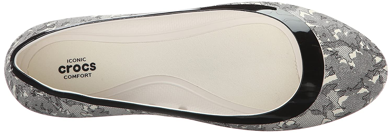 Crocs Women's Lina Shiny Ballet Flat B01A6LFDRC 9 M US|Oyster/Black