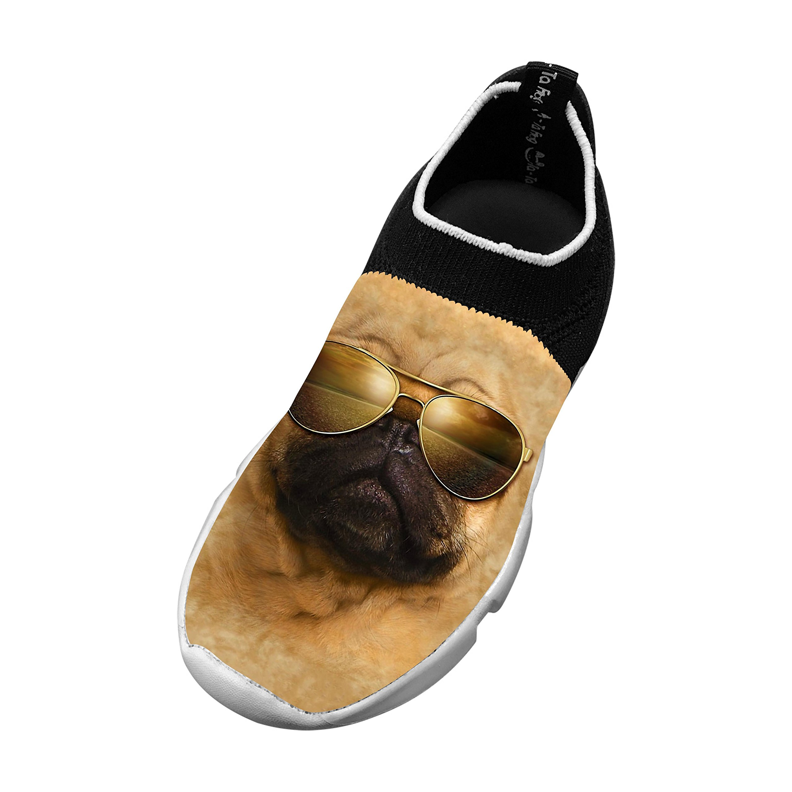 Sharpei Dog Sunglasses Pug New Style Fly Knit Shoes Kids Casual Sports Sneakers 3 D(M) US Big kid