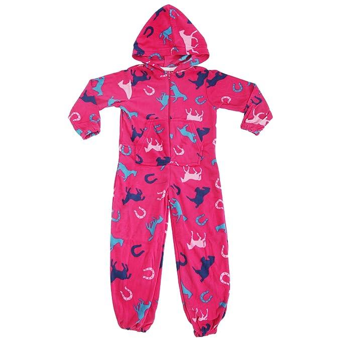 Selena - Pijama entero / mono de polar con diseño de dibujos caballos y capucha para