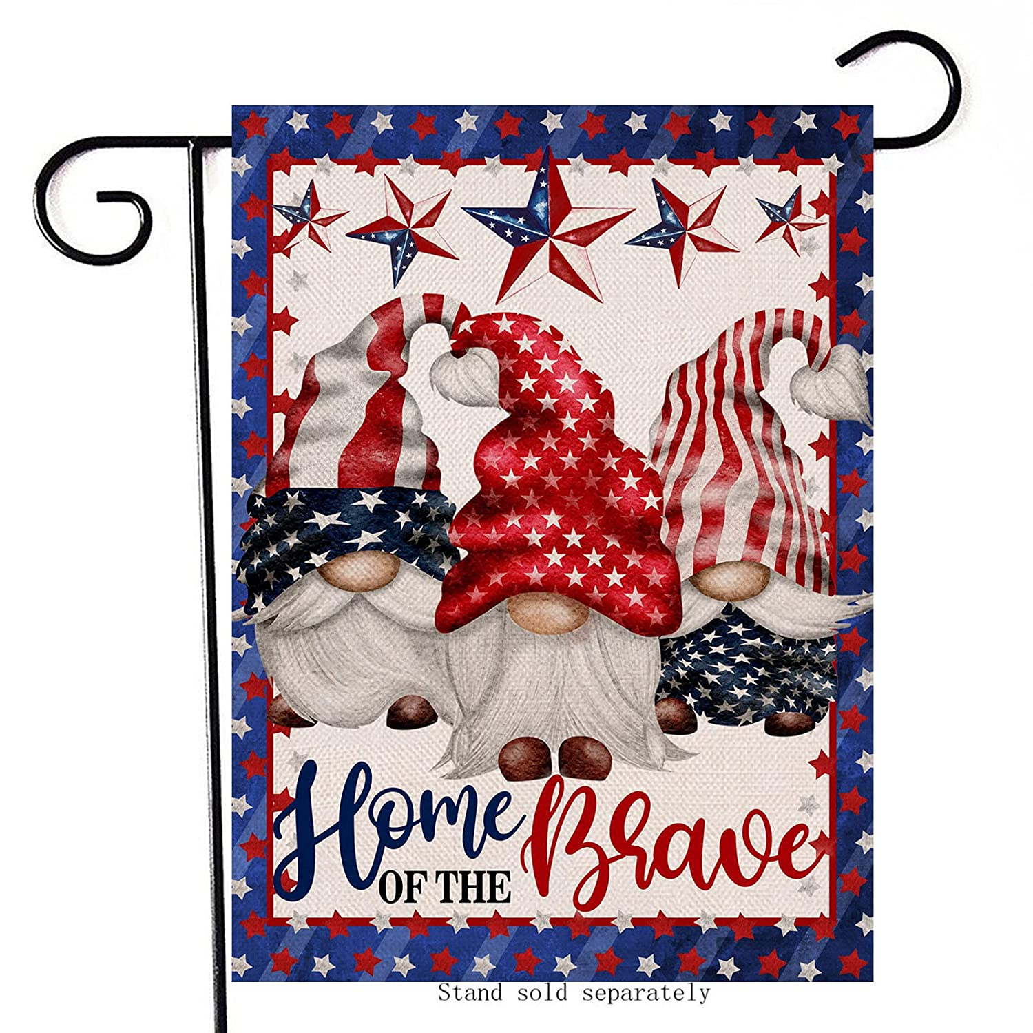 Artofy Home of the Brave Gnome Decorative Garden Flag, House Yard American July 4th Decor Sign Stars Stripes Outdoor Small Burlap Flag Double Sided, Home Outside USA Patriotic Decorations 12 x 18