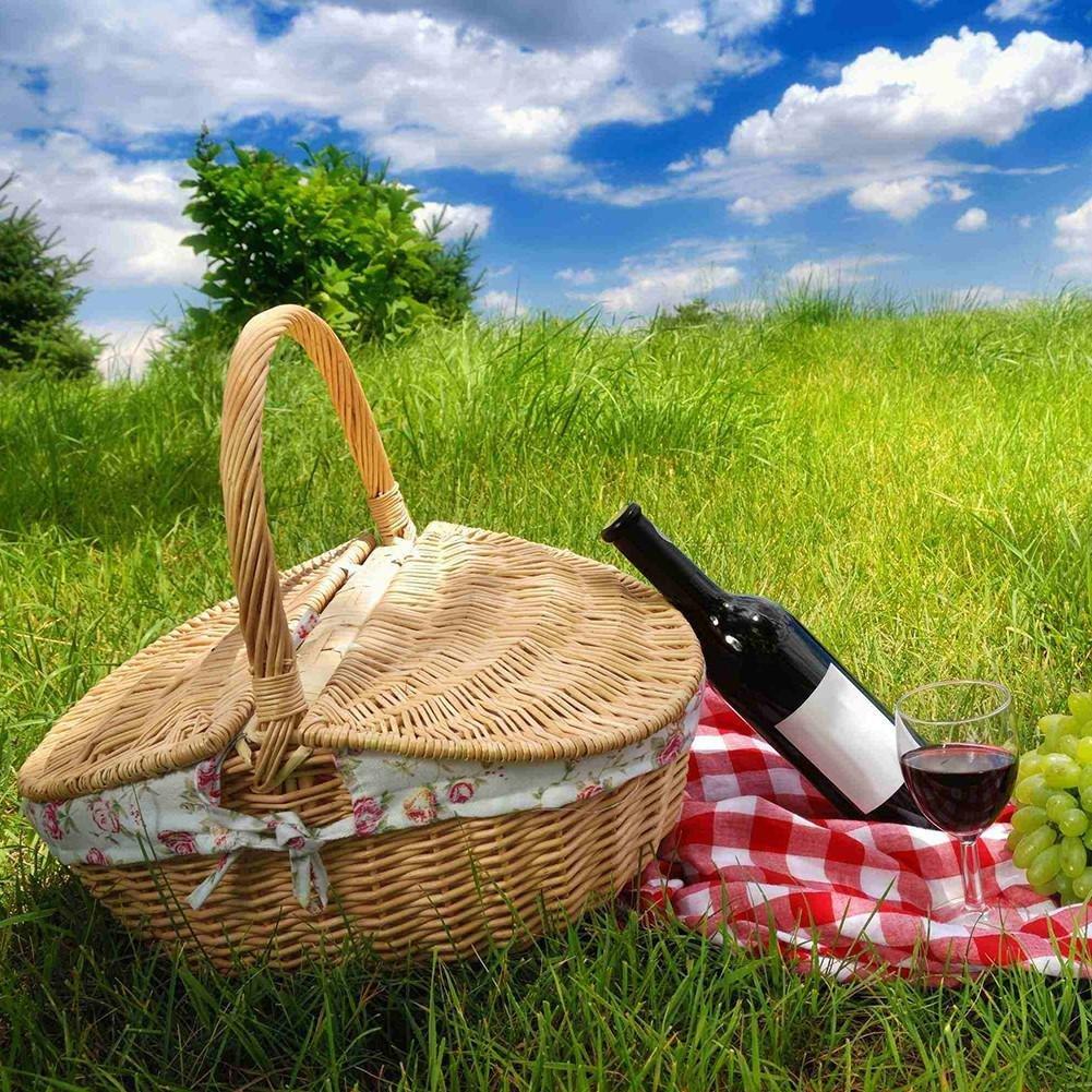 Cestino di vimini fatto a mano Cestino di campeggio Cestino di picnic Cesto di immagazzinaggio commerciale con coperchio e manico Cestino da picnic di vimini di colore in legno