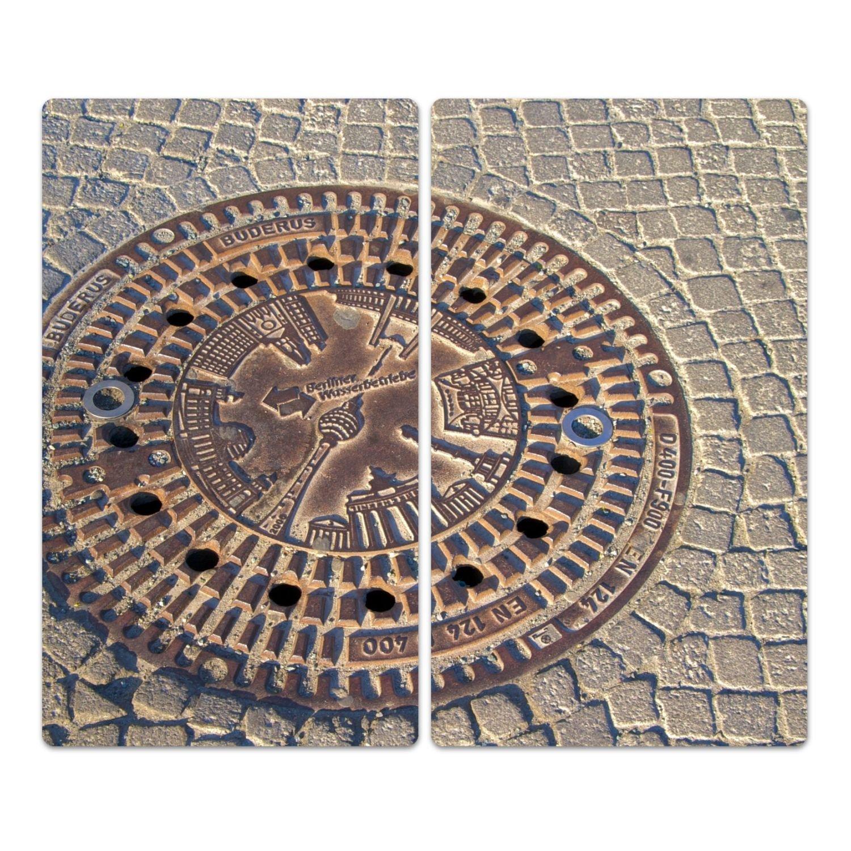 Herd Ceranfeld Abdeckung geh/ärtetes Glas einteilig universal 52x60 cm DekoGlas Herdabdeckplatte inkl Noppen Schachtabdeckung