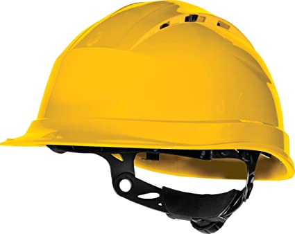 Delta plus - Casco obra ventilado polipropileno ajuste rotor amarillo