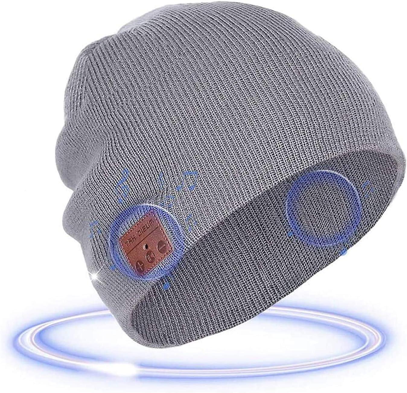 ONX3 Dark Grey Wireless Beanie Hats Cap Smart Winter Knit Hat V4.1 Musical Headphones Earphones w// 2 Speakers Unisex Unique Christmas Tech Gifts Compatible With Xiaomi Pocophone F1
