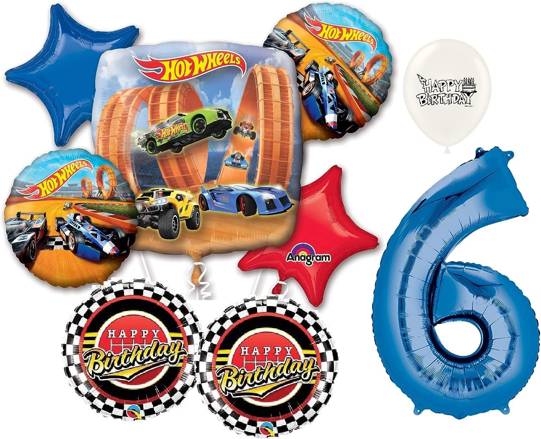 ブルー番号6th誕生日Hot Wheels Racing Carsパーティーデコレーションバルーンブーケby Ballooney 's