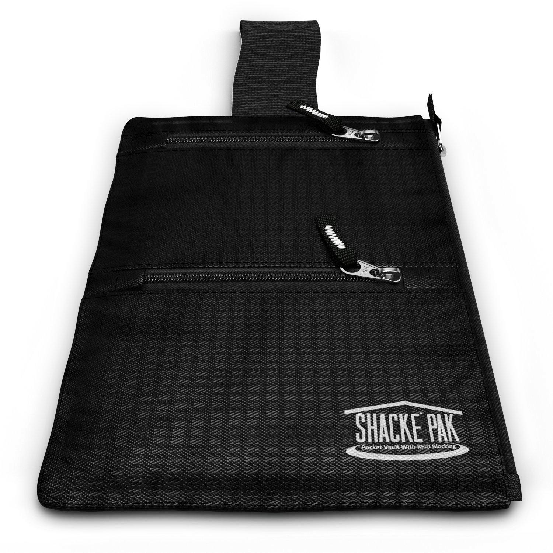 Shacke Hidden Travel Belt Wallet w/RFID Blocker (Black with Black Strap) by Shacke