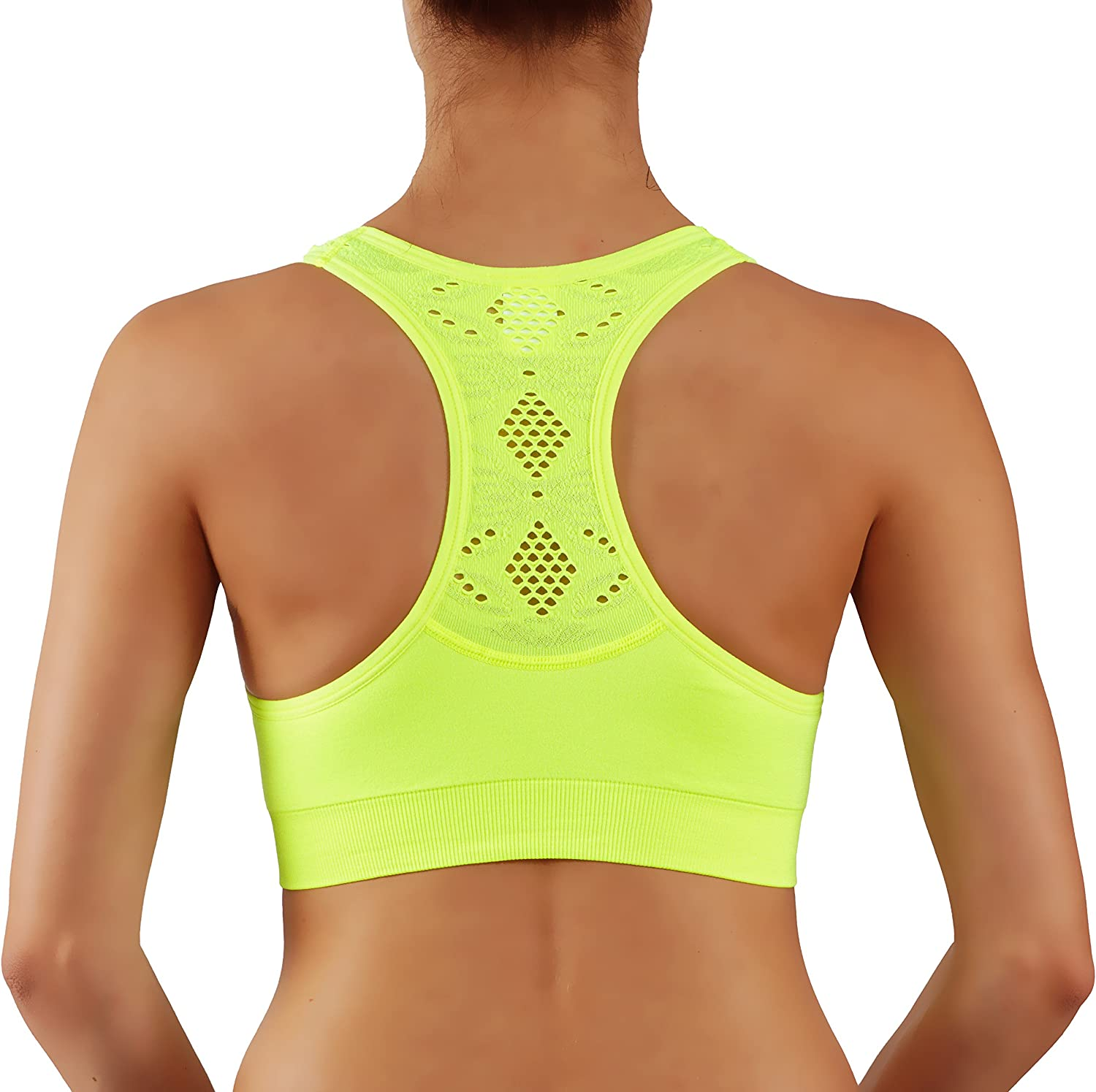 Vesi Star Womens Sports Bra Add 1 Cup Extra Padded with Removable Pads with Breathable Race Back Yoga Top
