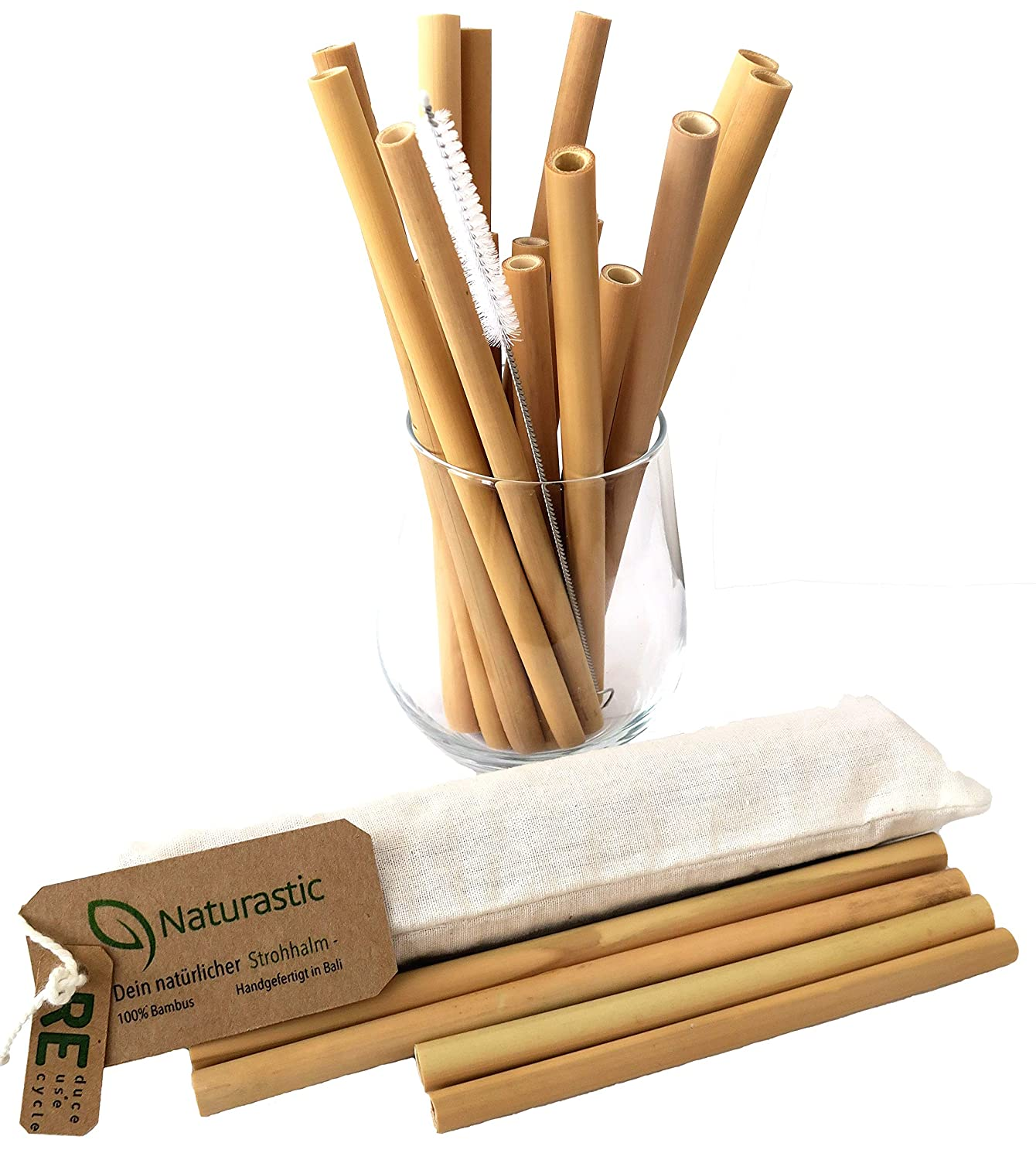 Natural Astic 100 Bamboo Drinking Straws With Cleaning Brush Set Of