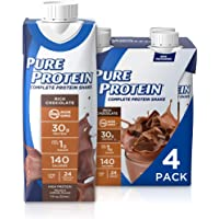 Pure Protein Complete Ready to Drink Protein Shake, Keto Diet Friendly Snack, 30g Whey Protein, With Vitamin A, Vitamin D, and Zinc to Support Immune Health, Chocolate, 11oz, Pack of 4
