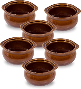 6 Pk 12oz French Onion Soup Crocks Perfect For Onion Soup Stews Casserole Restaurant Style Brown