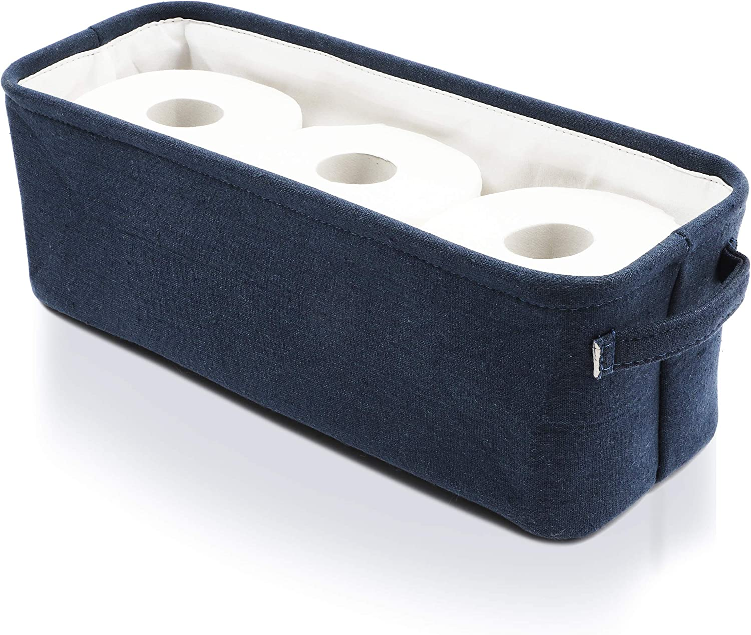 Juvale Dark Blue Fabric Storage Bin for Home and Bathroom (16 x 6 x 5.5 Inches): Home & Kitchen