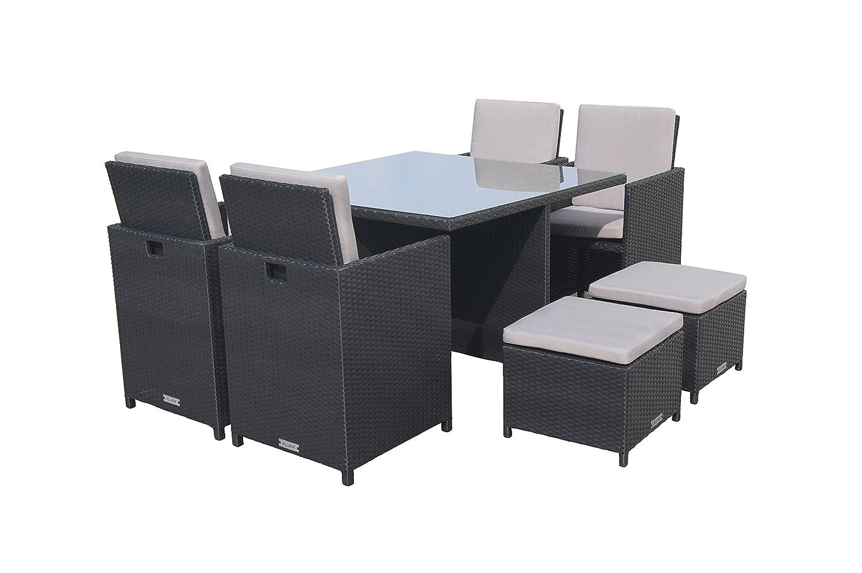 VILLANA exklusive Esstischgruppe aus hochwertigem Polyrattan in schwarz, Glastischplatte ca. 115 x 115 x 74 cm, inkl. Polster, Gartentisch Set für 4 - 8 Personen, Tisch, 4 Stühle, 2 Hocker, wetterfest