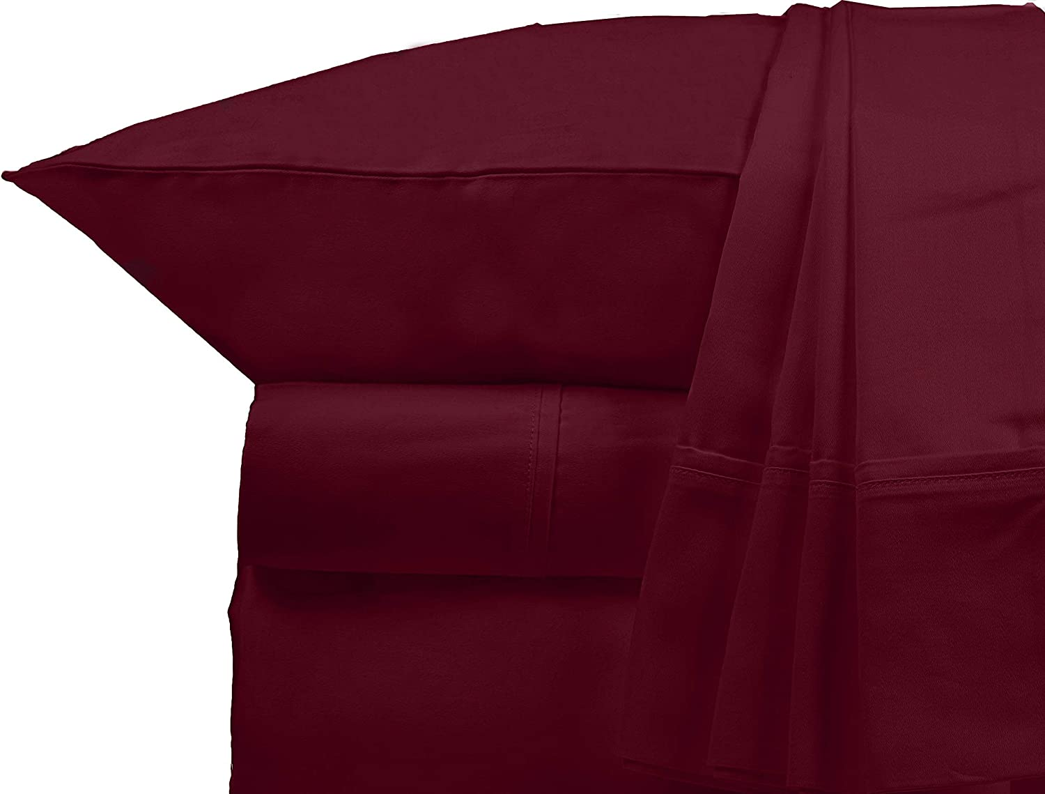 """Bluemoon Homes Luxurious 1000 Thread Count Italian Finish 100% Egyptian Cotton 4-Piece Bed Sheet Set, Fitss Mattress Up to 18"""" Deep Pocket, Solid Pattern. (Twin, Burgundy)"""