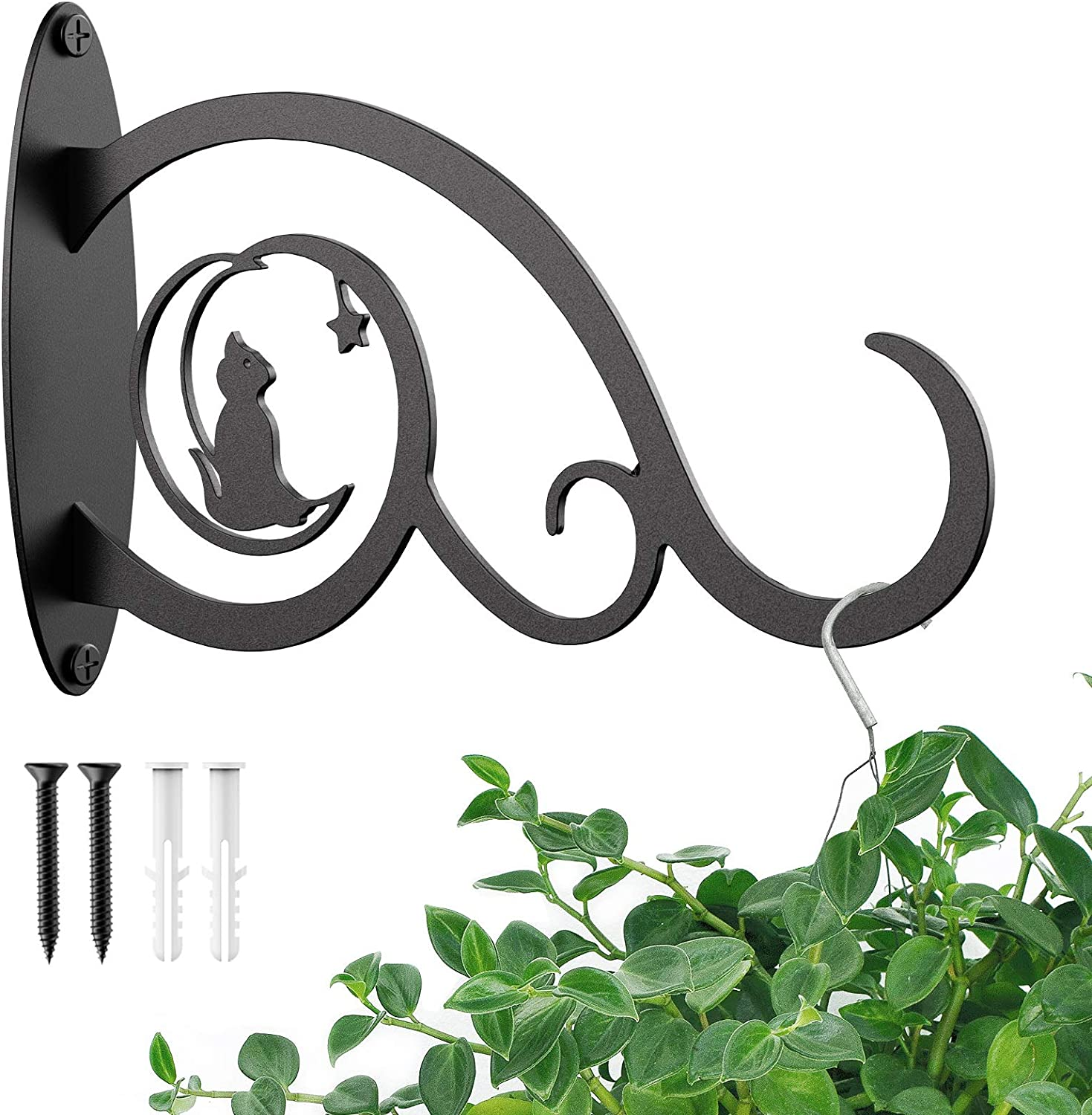 10 inch Hanging Plant Bracket, Decorative Plants Hangers Outdoor, Premium Iron Wall Hooks for Hanging Bird Feeder, Lanterns, Wind Chimes, String Lights, Sturdy and Install Easily, by Wanaspo, Black