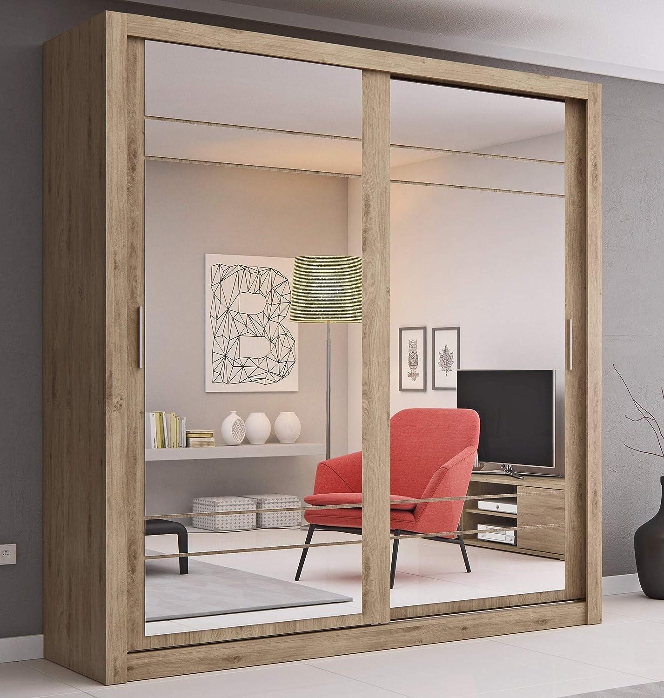 Arthauss - Armario de Puerta corredera con Espejo para Dormitorio (Madera de Roble Shetland, 20,3 cm): Amazon.es: Hogar