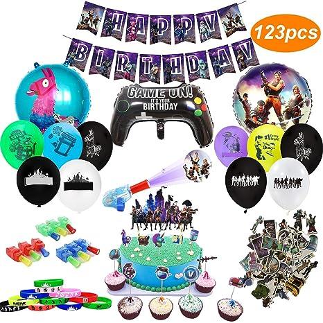 Artículos de Fiestas para Fanáticos de los Videojuegos 123PCS Decoraciones para Cumpleaños de Tema de Videojuegos con Globos Pancartas Pulseras Luces ...