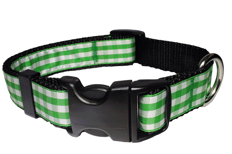 Large Collar Paw Paws USA Picnic Basket Dog Collar, Large, Green