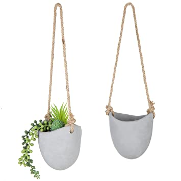 Amazoncom Mygift 4 Inch Gray Cement Wall Hanging Succulent Planter