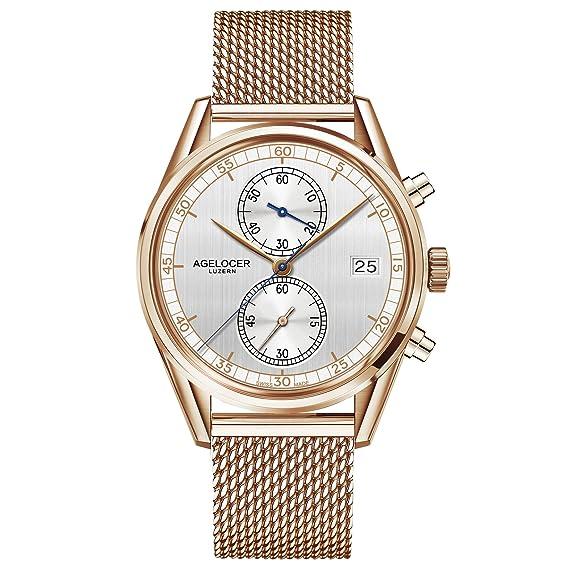 agelocer lujo vestido relojes oro rosa tono Chronogrpah Stop reloj para hombres: Amazon.es: Relojes