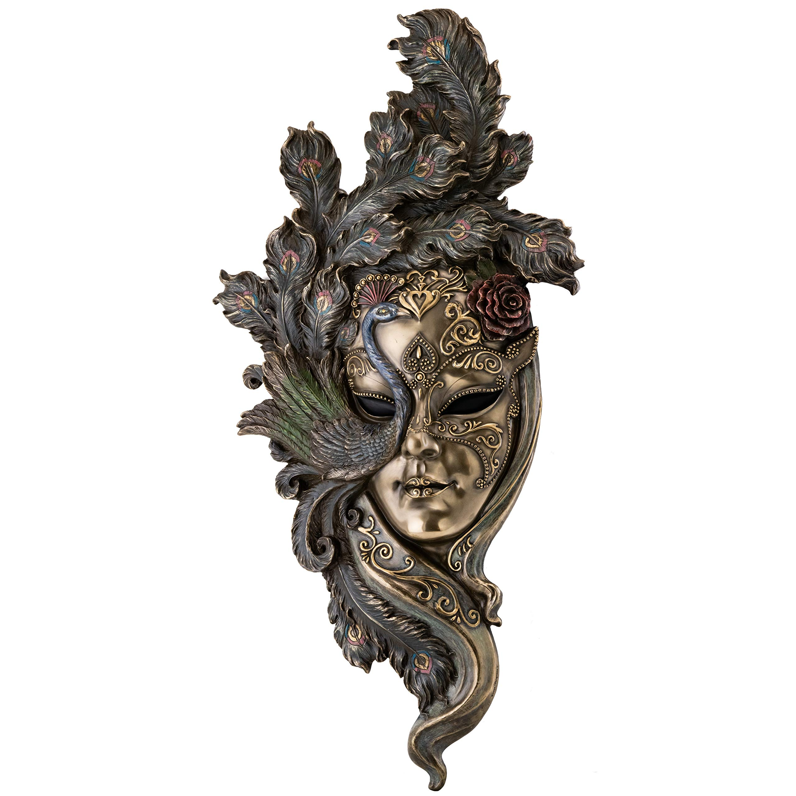 Top Collection Large Lady Peacock Venetian Style Carnival Mask- Decorative Hanging Wall Decor in Premium Cold Cast Bronze- 21-Inch Collectible Masquerade Party Mask Costume by Top Collection