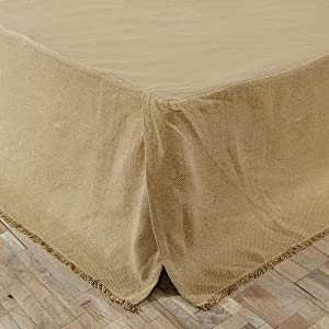 vhc brands burlap natural fringed queen bed skirt 60 x 80 x 16 - Vhc Brands