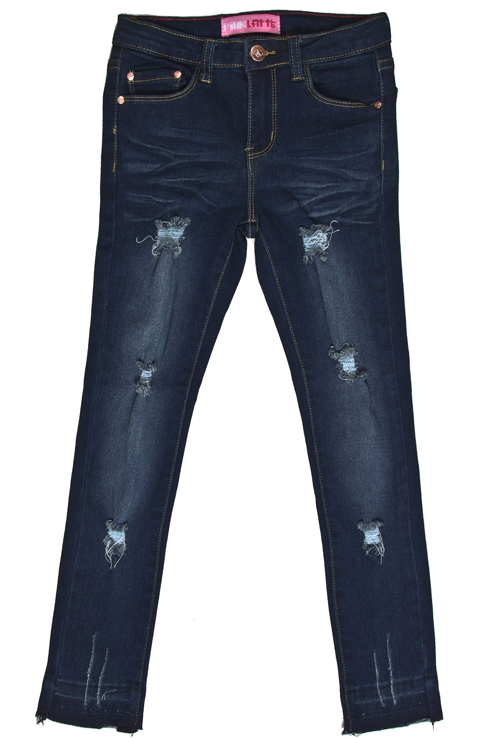 GDP-17-877B - Girls' Stretch 5 Pockets Basic Premium Ripped Skinny Jeans in Washed Blue Size 14