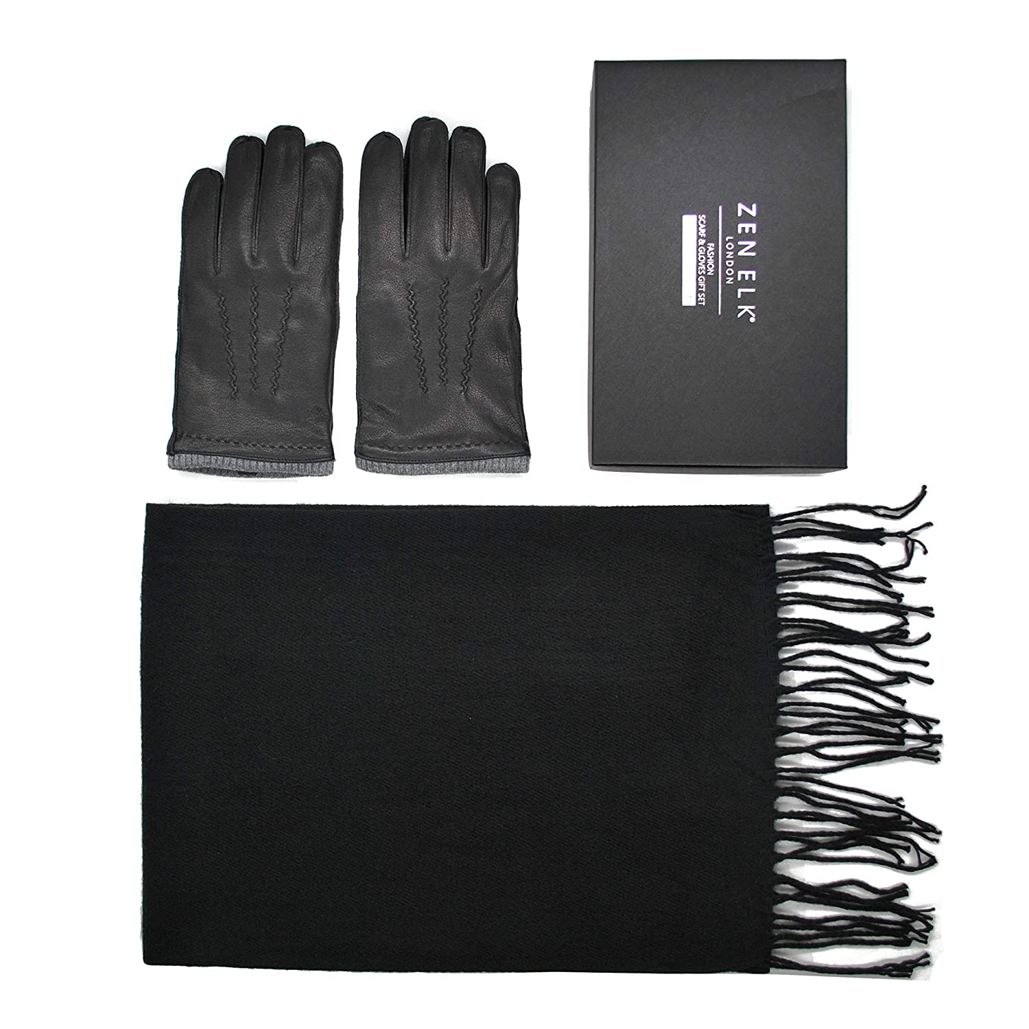 Men's Outseam Leather Gloves and Twill Pattern Scarf Box Set #20 (Large)