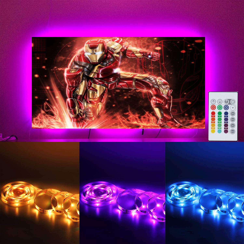 TV Bias Lighting USB Powered LED Strip Lights for 65 70 inches HDTV 4M/13.12ft Black Light Strip Kit Decor for TV with 20 Color Options Remote (Black 65'' - 70'')