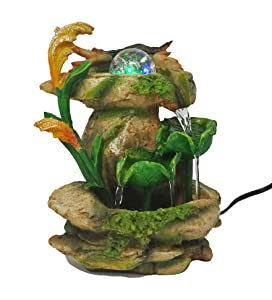 ImagiWonder Tabletop Fountain Forest Waterfall Cascading Lotus Leaves