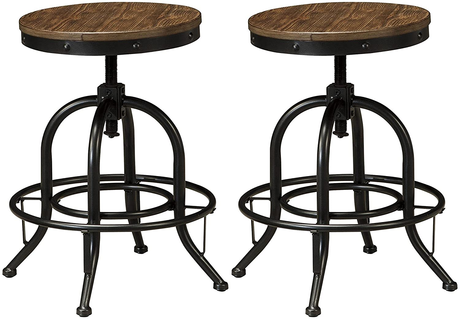 Signature Design by Ashley Furniture-Pinnadel Counter Height Bar Stool-Set of 2-Casual Style-Grayish Brown D542-224