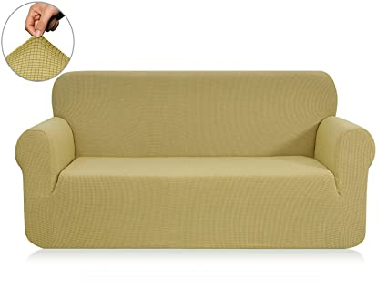 Chunyi Jacquard Sofa Covers 1 Piece Polyester Spandex Fabric Slipcover (Sofa,Light  Yellow