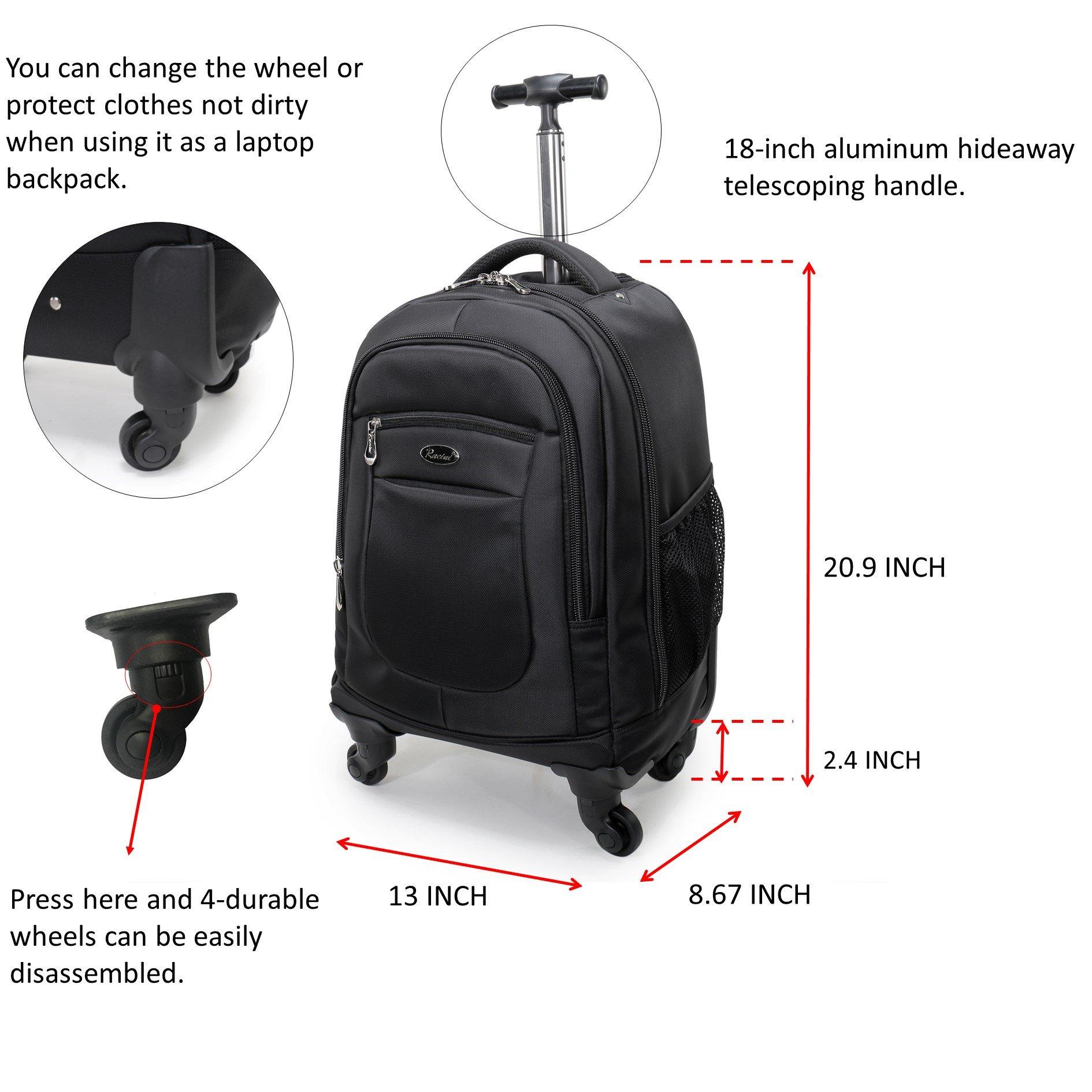 Racini Nylon Waterproof Rolling Backpack, Freewheel Travel School Wheeled Backpack, Carry-on Luggage with Anti-theft Zippers (Black) by Racini (Image #2)
