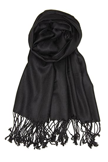 2776b4593ff Achillea Large Soft Silky Pashmina Shawl Wrap Scarf in Solid Colors (Black)