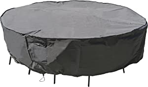 M&H Heavy Duty Waterproof Large Patio Set Cover - Outdoor Furniture Cover with Padded Handles and Durable Hem Cord - Weather Resistant, Fits Large Round Table with Chairs, 96 inch Diameter, Taupe