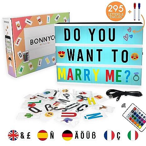 Caja de Luz A4 16 Colores con 295 Letras y Emojis, Mando, 2 Rotuladores – BONNYCO |Ñ y Ç | Cartel Luminoso LED, Ideal para Decoración y Regalo ...