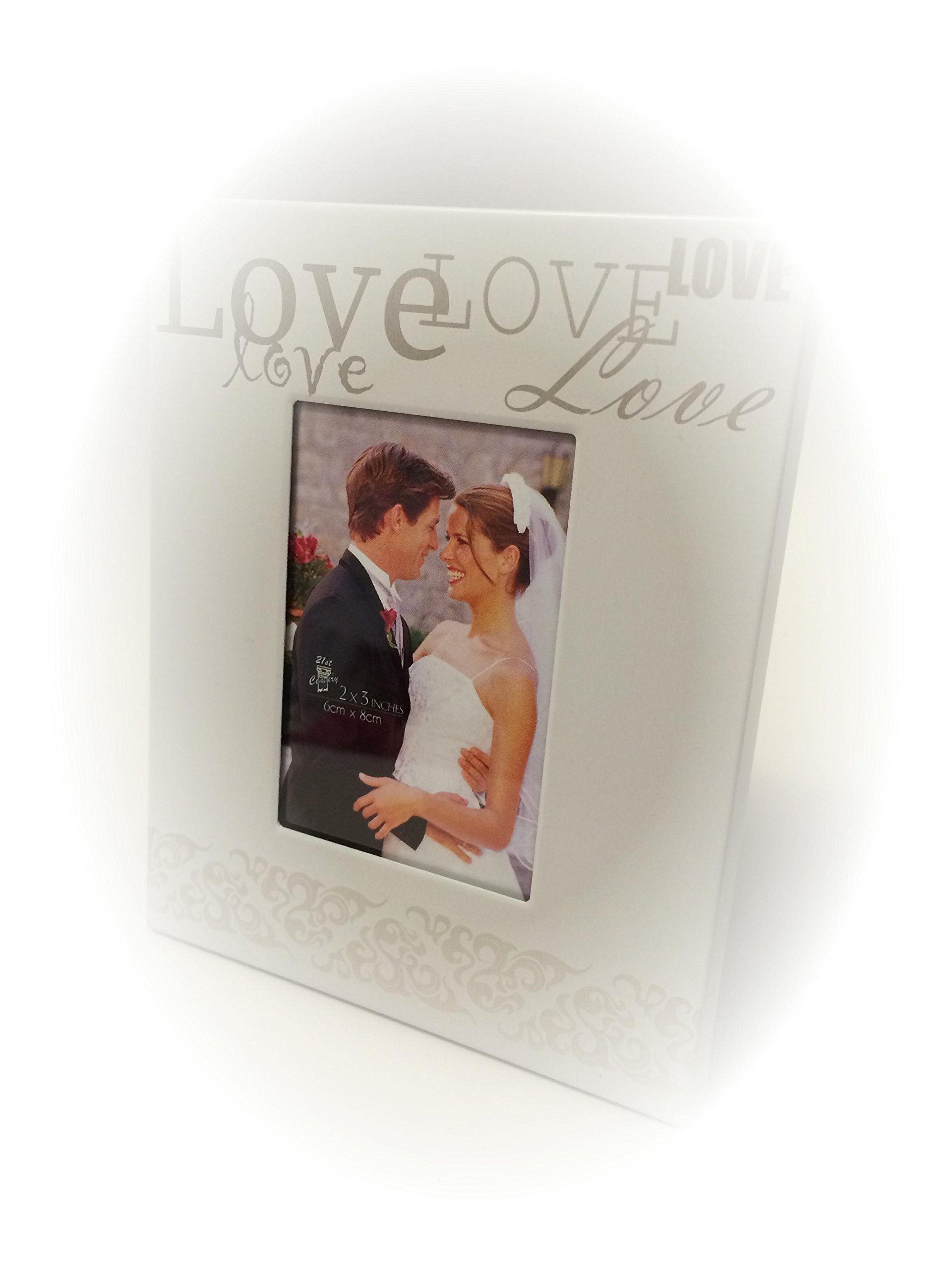 Weddings SILVER Reception Gift Card Holder Box + White Metal LOVE Design Favor Frame